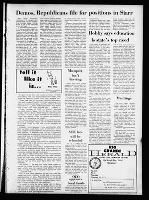 Primary view of object titled 'Rio Grande Herald (Rio Grande City, Tex.), Vol. 20, No. 6, Ed. 1 Thursday, February 10, 1972'.