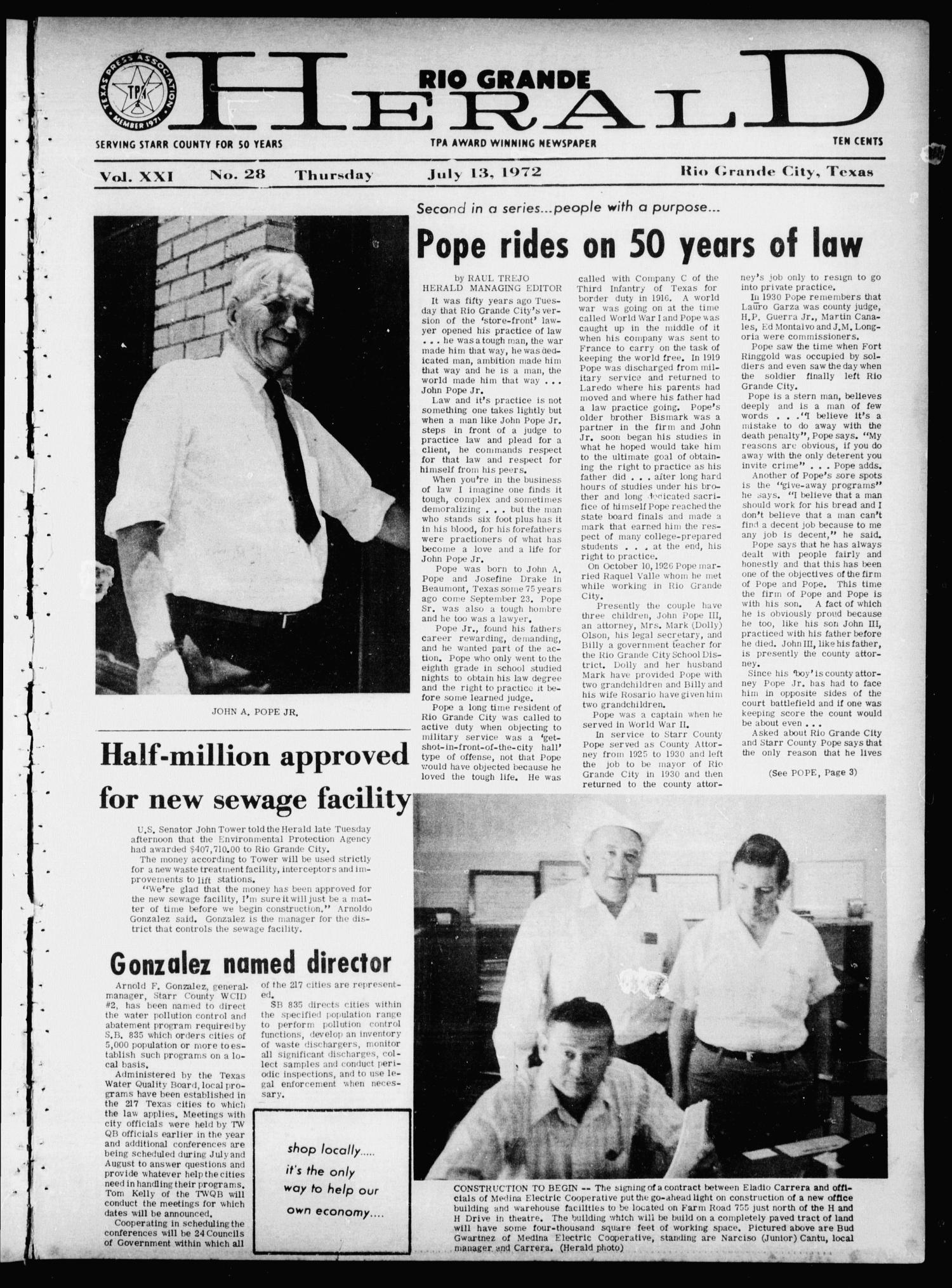Rio Grande Herald (Rio Grande City, Tex.), Vol. 21, No. 28, Ed. 1 Thursday, July 13, 1972                                                                                                      [Sequence #]: 1 of 20
