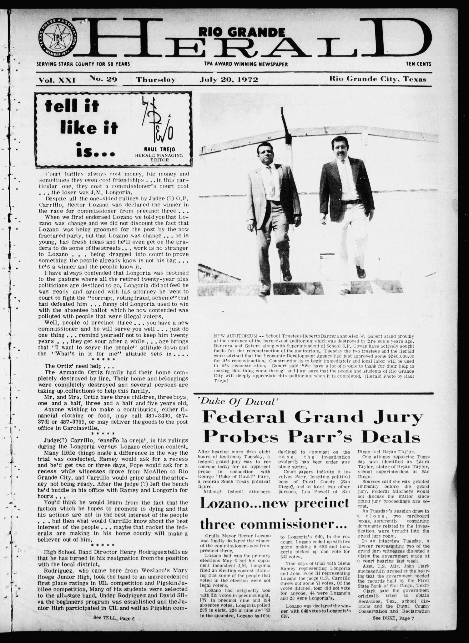 Rio Grande Herald (Rio Grande City, Tex.), Vol. 21, No. 29, Ed. 1 Thursday, July 20, 1972                                                                                                      [Sequence #]: 1 of 20