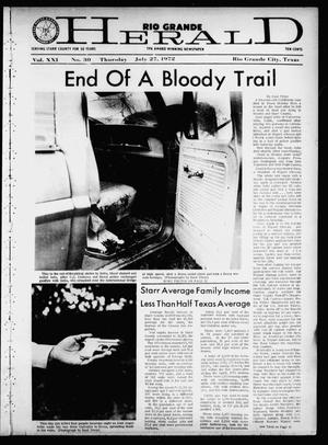 Primary view of object titled 'Rio Grande Herald (Rio Grande City, Tex.), Vol. 21, No. 30, Ed. 1 Thursday, July 27, 1972'.