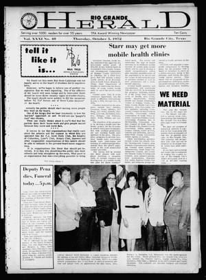 Primary view of object titled 'Rio Grande Herald (Rio Grande City, Tex.), Vol. 21, No. 40, Ed. 1 Thursday, October 5, 1972'.