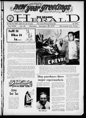 Primary view of object titled 'Rio Grande Herald (Rio Grande City, Tex.), Vol. 21, No. 52, Ed. 1 Thursday, December 28, 1972'.