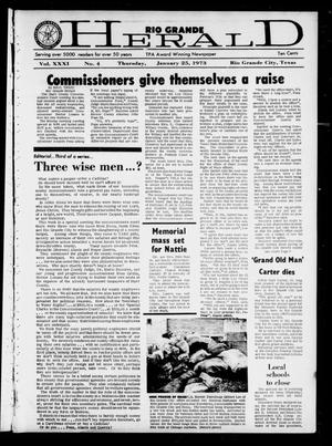 Primary view of object titled 'Rio Grande Herald (Rio Grande City, Tex.), Vol. 31, No. 4, Ed. 1 Thursday, January 25, 1973'.