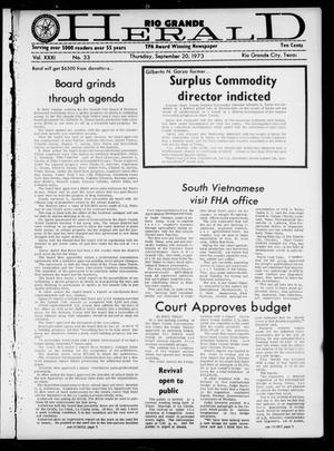 Primary view of object titled 'Rio Grande Herald (Rio Grande City, Tex.), Vol. 31, No. 33, Ed. 1 Thursday, September 20, 1973'.
