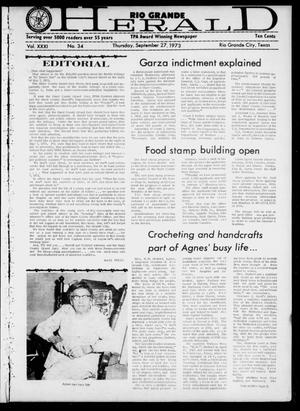 Primary view of object titled 'Rio Grande Herald (Rio Grande City, Tex.), Vol. 31, No. 34, Ed. 1 Thursday, September 27, 1973'.