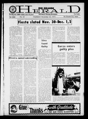 Primary view of object titled 'Rio Grande Herald (Rio Grande City, Tex.), Vol. 31, No. 42, Ed. 1 Thursday, November 22, 1973'.