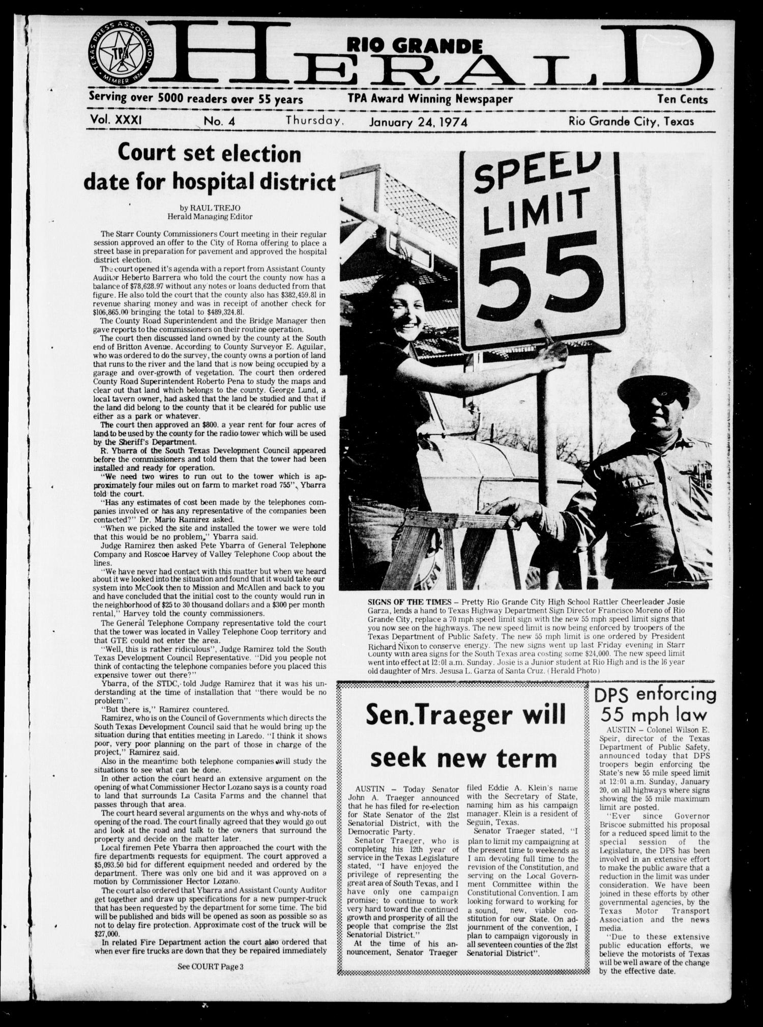 Rio Grande Herald (Rio Grande City, Tex.), Vol. 32, No. 4, Ed. 1 Thursday, January 24, 1974                                                                                                      [Sequence #]: 1 of 20