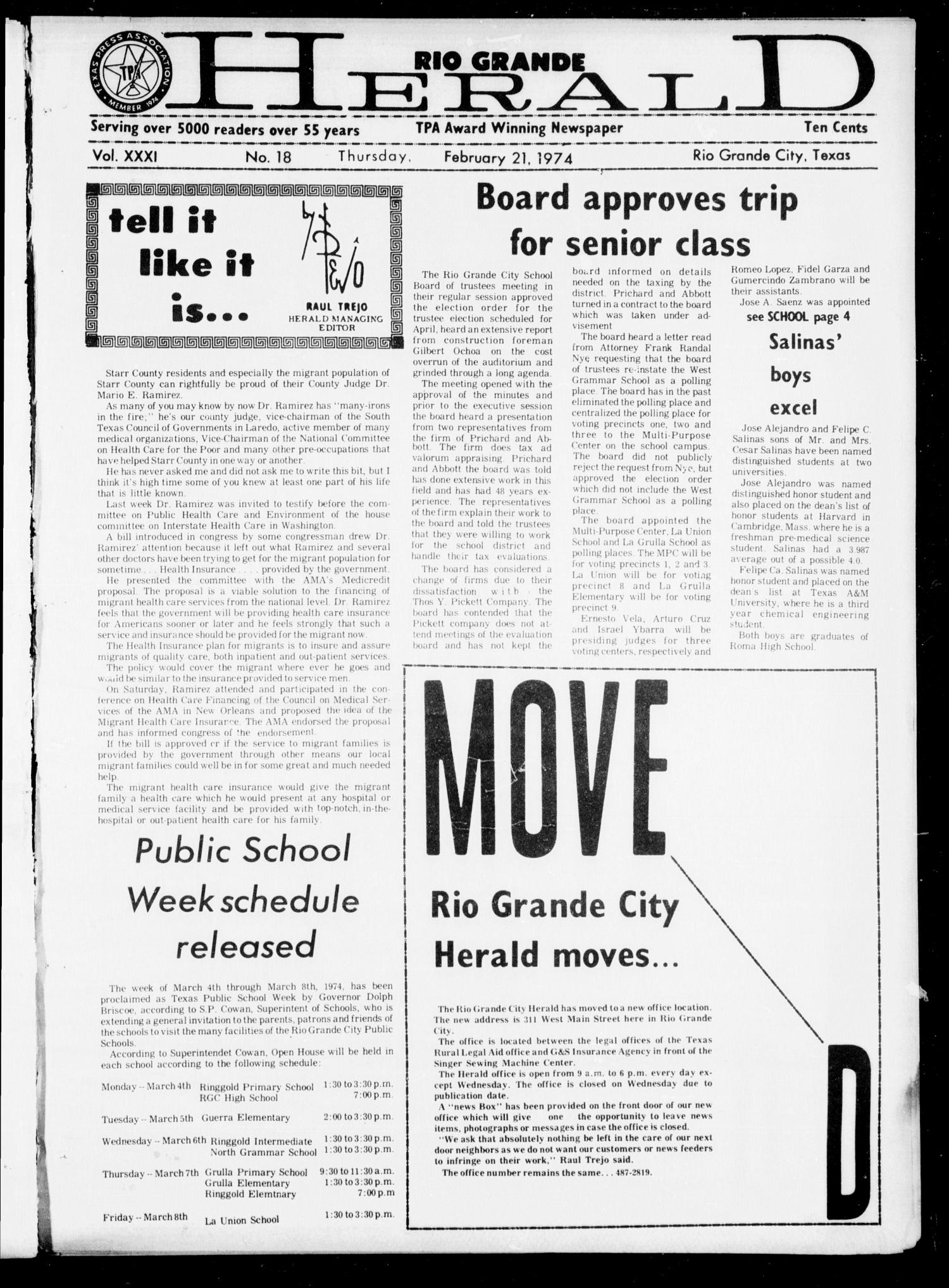 Rio Grande Herald (Rio Grande City, Tex.), Vol. 32, No. 8, Ed. 1 Thursday, February 21, 1974                                                                                                      [Sequence #]: 1 of 24