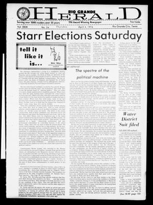 Primary view of object titled 'Rio Grande Herald (Rio Grande City, Tex.), Vol. 32, No. 24, Ed. 1 Thursday, April 4, 1974'.