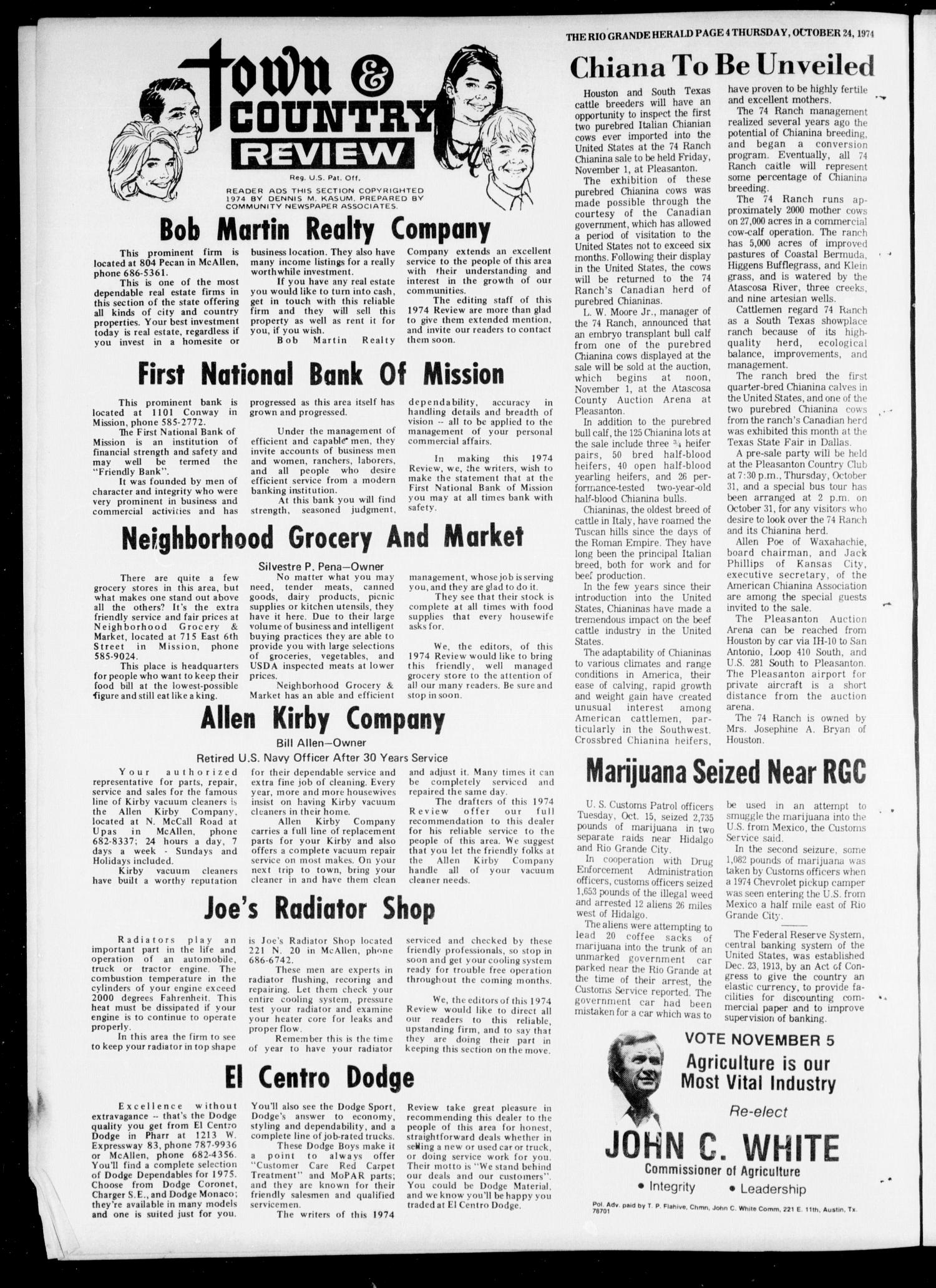 Rio Grande Herald (Rio Grande City, Tex.), Vol. 32, No. 54, Ed. 1 Thursday, October 24, 1974                                                                                                      [Sequence #]: 4 of 24