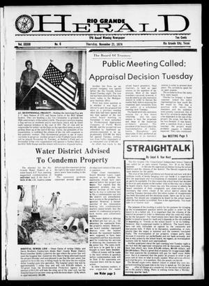 Primary view of object titled 'Rio Grande Herald (Rio Grande City, Tex.), Vol. 33, No. 6, Ed. 1 Thursday, November 21, 1974'.