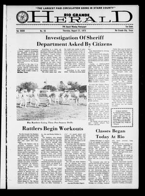 Primary view of object titled 'Rio Grande Herald (Rio Grande City, Tex.), Vol. 33, No. 45, Ed. 1 Thursday, August 21, 1975'.