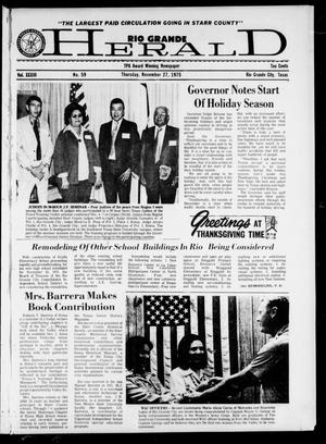 Primary view of object titled 'Rio Grande Herald (Rio Grande City, Tex.), Vol. 33, No. 59, Ed. 1 Thursday, November 27, 1975'.