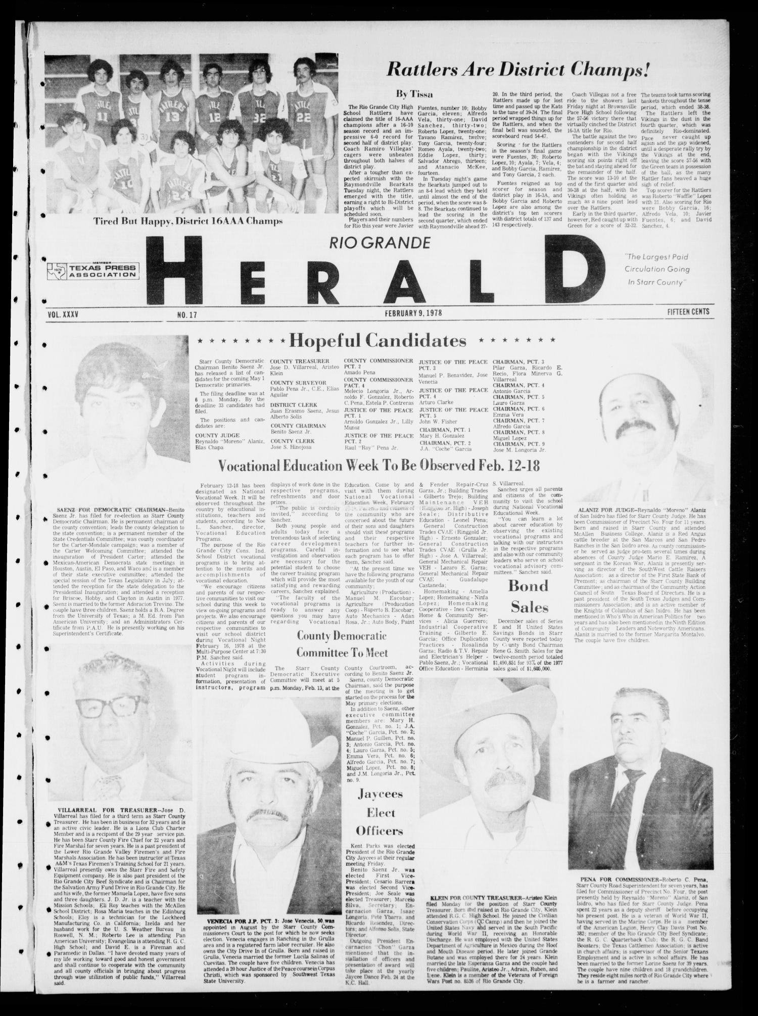 Rio Grande Herald (Rio Grande City, Tex.), Vol. 35, No. 17, Ed. 1 Thursday, February 9, 1978                                                                                                      [Sequence #]: 1 of 8