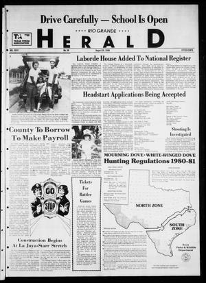 Primary view of object titled 'Rio Grande Herald (Rio Grande City, Tex.), Vol. 35, No. 50, Ed. 1 Thursday, August 28, 1980'.