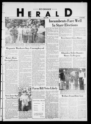 Primary view of object titled 'Rio Grande Herald (Rio Grande City, Tex.), Vol. 35, No. 82, Ed. 1 Thursday, April 9, 1981'.