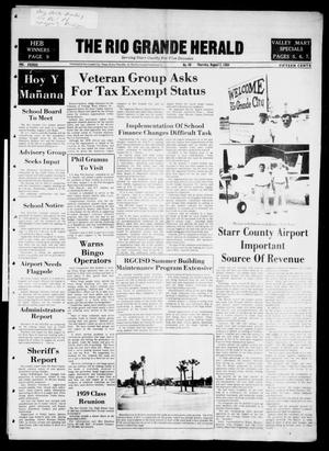 Primary view of object titled 'The Rio Grande Herald (Rio Grande City, Tex.), Vol. 38, No. 40, Ed. 1 Thursday, August 2, 1984'.