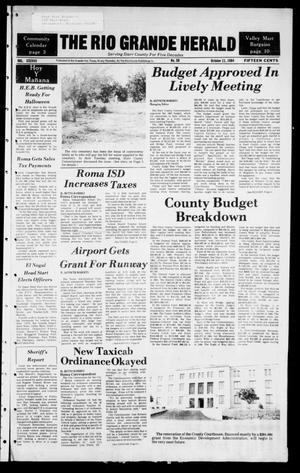 Primary view of object titled 'The Rio Grande Herald (Rio Grande City, Tex.), Vol. 38, No. 50, Ed. 1 Thursday, October 11, 1984'.