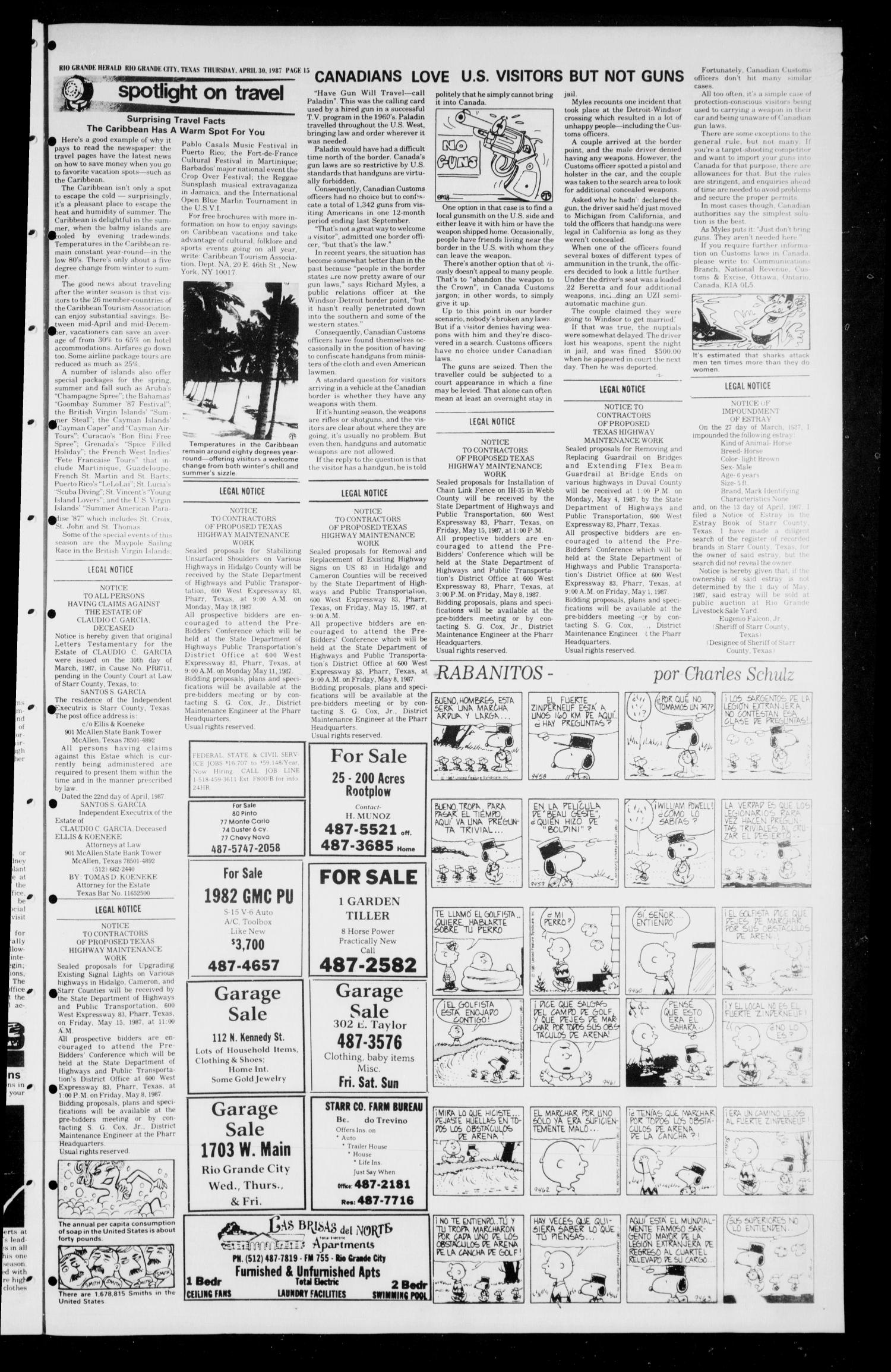 The Rio Grande Herald (Rio Grande City, Tex.), No. 27, Ed. 1 Thursday, April 30, 1987                                                                                                      [Sequence #]: 15 of 16