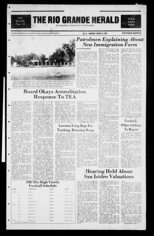 Primary view of object titled 'The Rio Grande Herald (Rio Grande City, Tex.), No. 41, Ed. 1 Thursday, August 6, 1987'.
