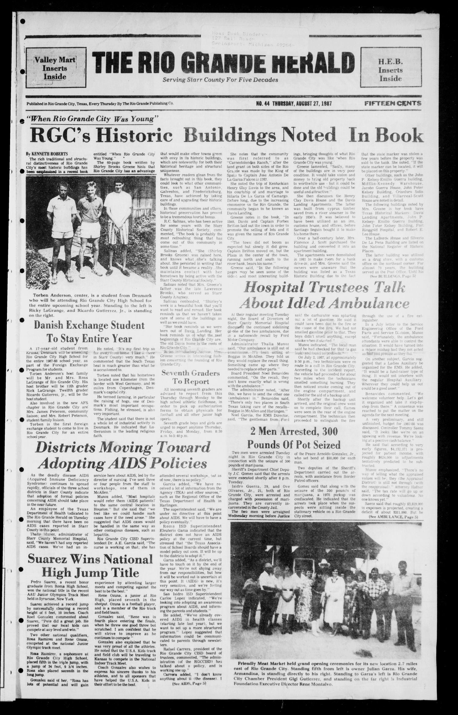 The Rio Grande Herald (Rio Grande City, Tex.), No. 44, Ed. 1 Thursday, August 27, 1987                                                                                                      [Sequence #]: 1 of 8