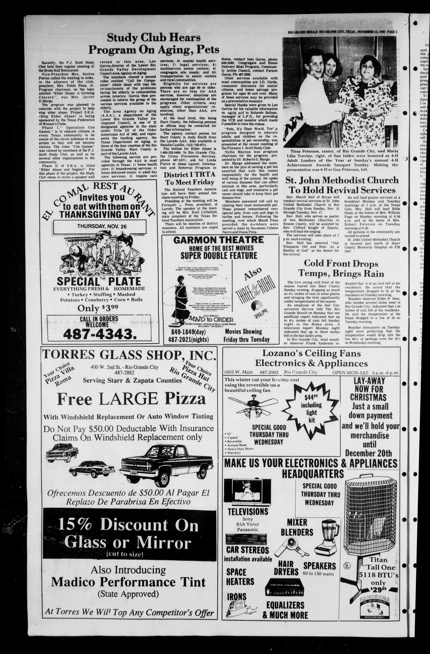The Rio Grande Herald (Rio Grande City, Tex.), No. 1, Ed. 1 Thursday, November 12, 1987                                                                                                      [Sequence #]: 2 of 12