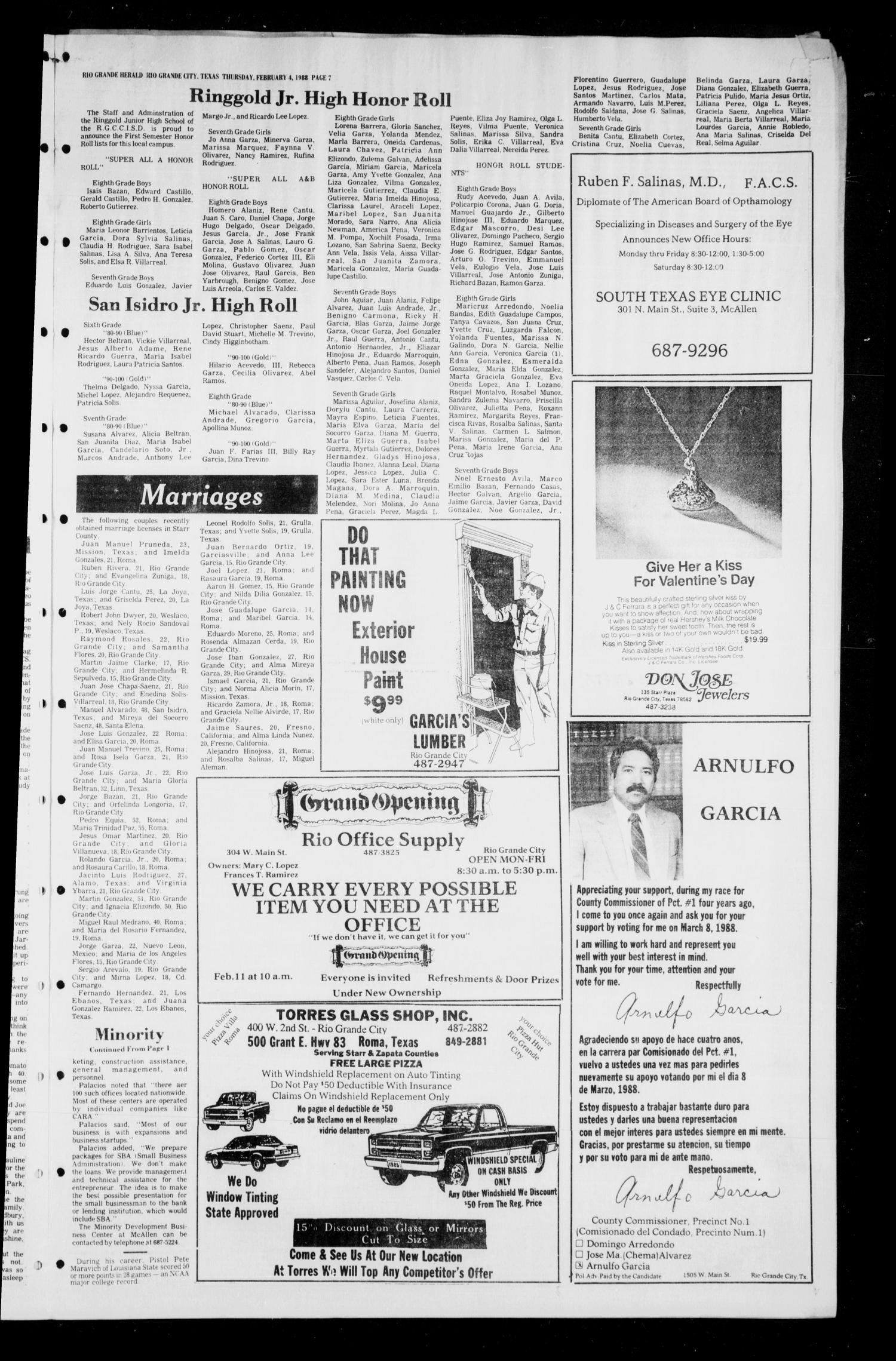 the rio grande herald rio grande city tex no ed  the rio grande herald rio grande city tex no 13 ed 1 thursday 4 1988 page 7 of 10 the portal to texas history
