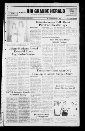 Primary view of object titled 'The Rio Grande Herald (Rio Grande City, Tex.), No. 41, Ed. 1 Thursday, August 18, 1988'.