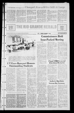 Primary view of object titled 'The Rio Grande Herald (Rio Grande City, Tex.), Vol. [79], No. 2, Ed. 1 Thursday, November 17, 1988'.