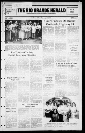Primary view of object titled 'The Rio Grande Herald (Rio Grande City, Tex.), Vol. 79, No. 40, Ed. 1 Thursday, August 17, 1989'.