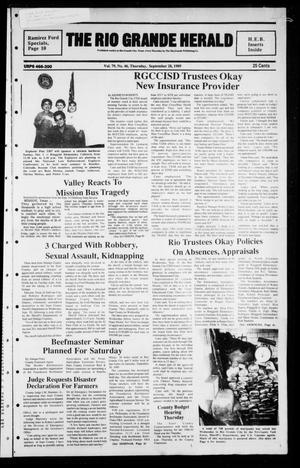 Primary view of object titled 'The Rio Grande Herald (Rio Grande City, Tex.), Vol. 79, No. 46, Ed. 1 Thursday, September 28, 1989'.