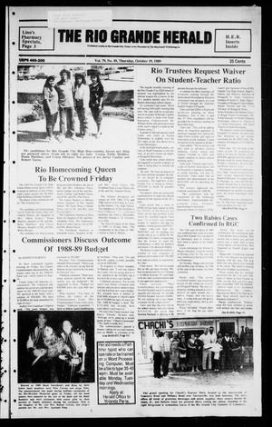Primary view of object titled 'The Rio Grande Herald (Rio Grande City, Tex.), Vol. 79, No. 49, Ed. 1 Thursday, October 19, 1989'.