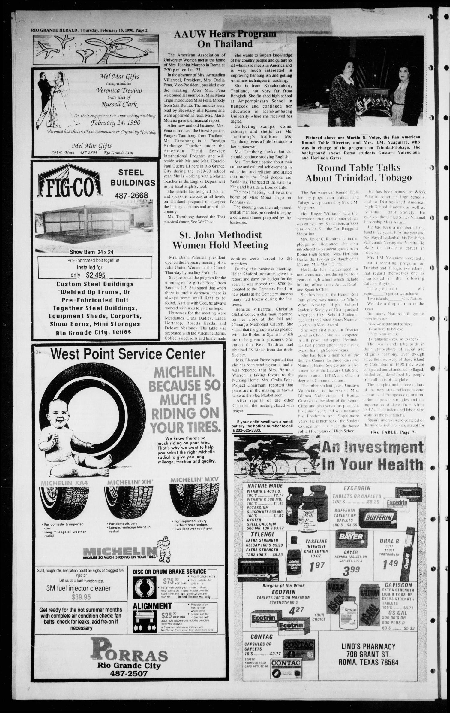 The Rio Grande Herald (Rio Grande City, Tex.), Vol. 80, No. 13, Ed. 1 Thursday, February 15, 1990                                                                                                      [Sequence #]: 2 of 8