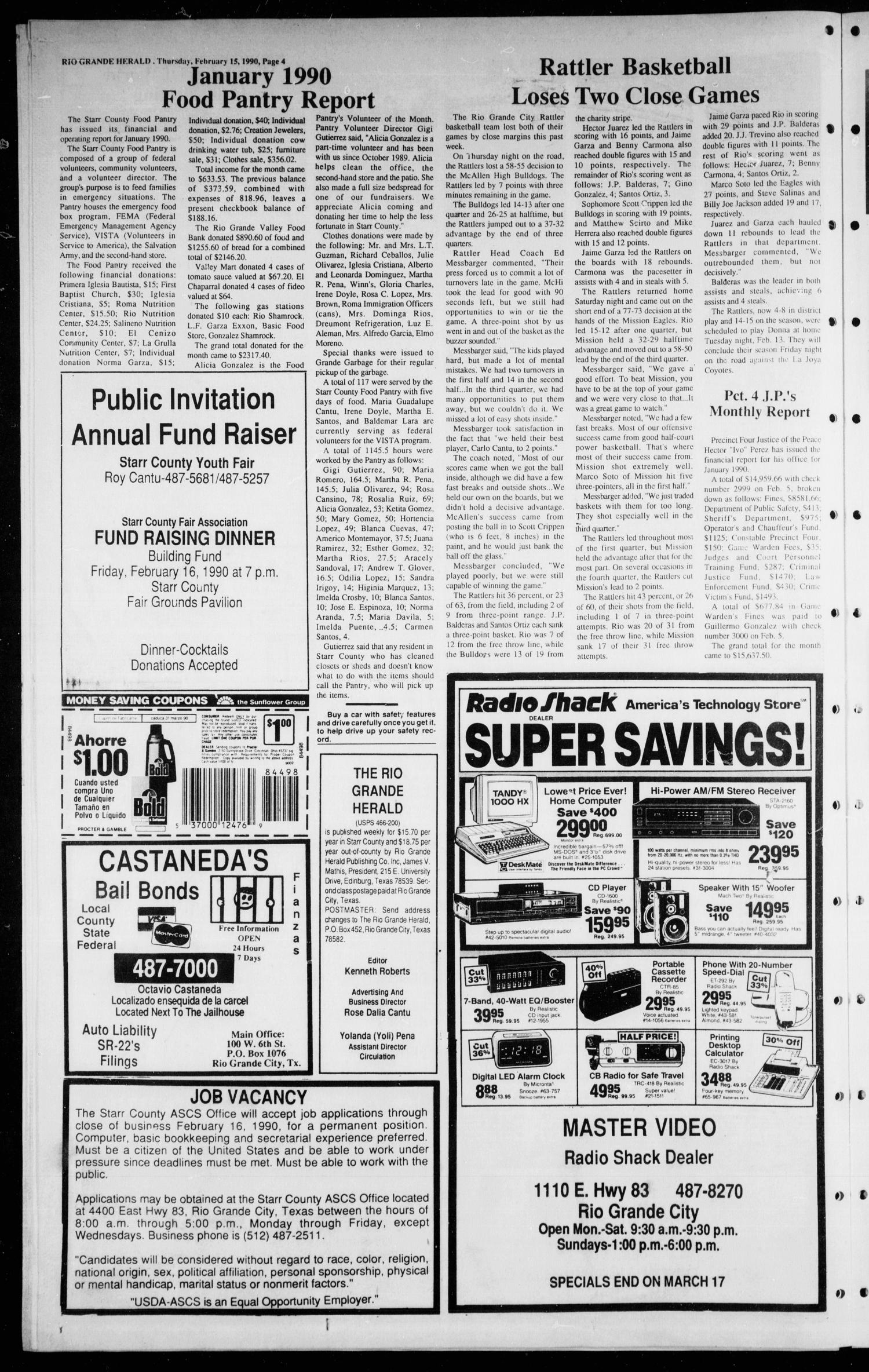 The Rio Grande Herald (Rio Grande City, Tex.), Vol. 80, No. 13, Ed. 1 Thursday, February 15, 1990                                                                                                      [Sequence #]: 4 of 8