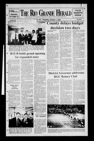 Primary view of object titled 'The Rio Grande Herald (Rio Grande City, Tex.), Vol. 80, No. 147, Ed. 1 Thursday, October 1, 1992'.