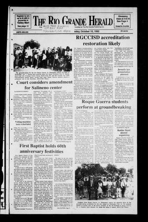 Primary view of The Rio Grande Herald (Rio Grande City, Tex.), Vol. 80, No. 149, Ed. 1 Thursday, October 15, 1992