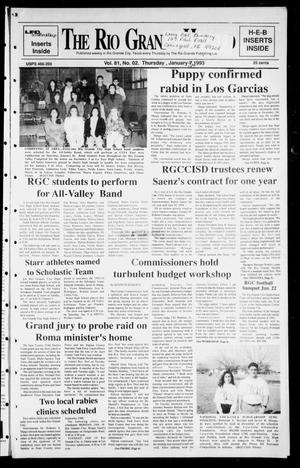 Primary view of object titled 'Rio Grande Herald (Rio Grande City, Tex.), Vol. 81, No. 2, Ed. 1 Thursday, January 14, 1993'.