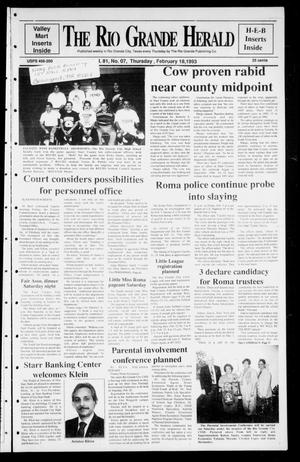 Rio Grande Herald (Rio Grande City, Tex.), Vol. 81, No. 7, Ed. 1 Thursday, February 18, 1993