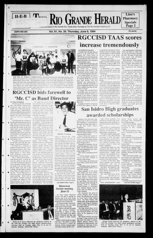 Primary view of object titled 'Rio Grande Herald (Rio Grande City, Tex.), Vol. 81, No. 29, Ed. 1 Thursday, June 9, 1994'.