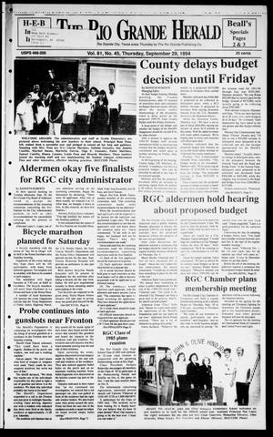 Primary view of object titled 'Rio Grande Herald (Rio Grande City, Tex.), Vol. 81, No. 45, Ed. 1 Thursday, September 29, 1994'.