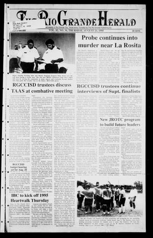 Primary view of object titled 'Rio Grande Herald (Rio Grande City, Tex.), Vol. 82, No. 34, Ed. 1 Thursday, August 24, 1995'.