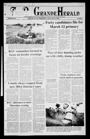 Primary view of object titled 'Rio Grande Herald (Rio Grande City, Tex.), Vol. 83, No. 1, Ed. 1 Thursday, January 4, 1996'.