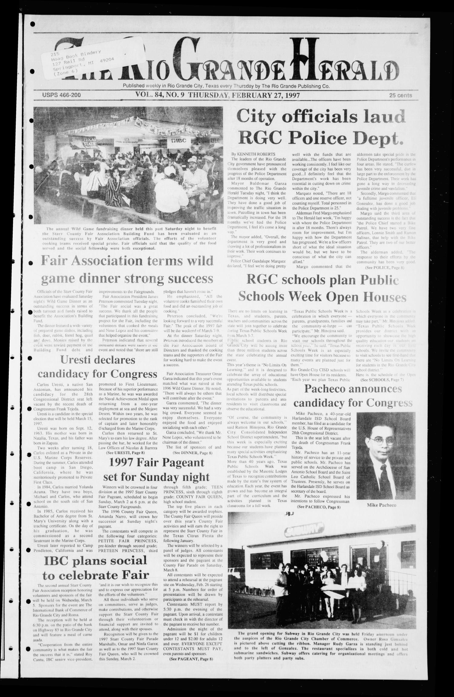 Rio Grande Herald (Rio Grande City, Tex.), Vol. 84, No. 9, Ed. 1 Thursday, February 27, 1997                                                                                                      [Sequence #]: 1 of 10