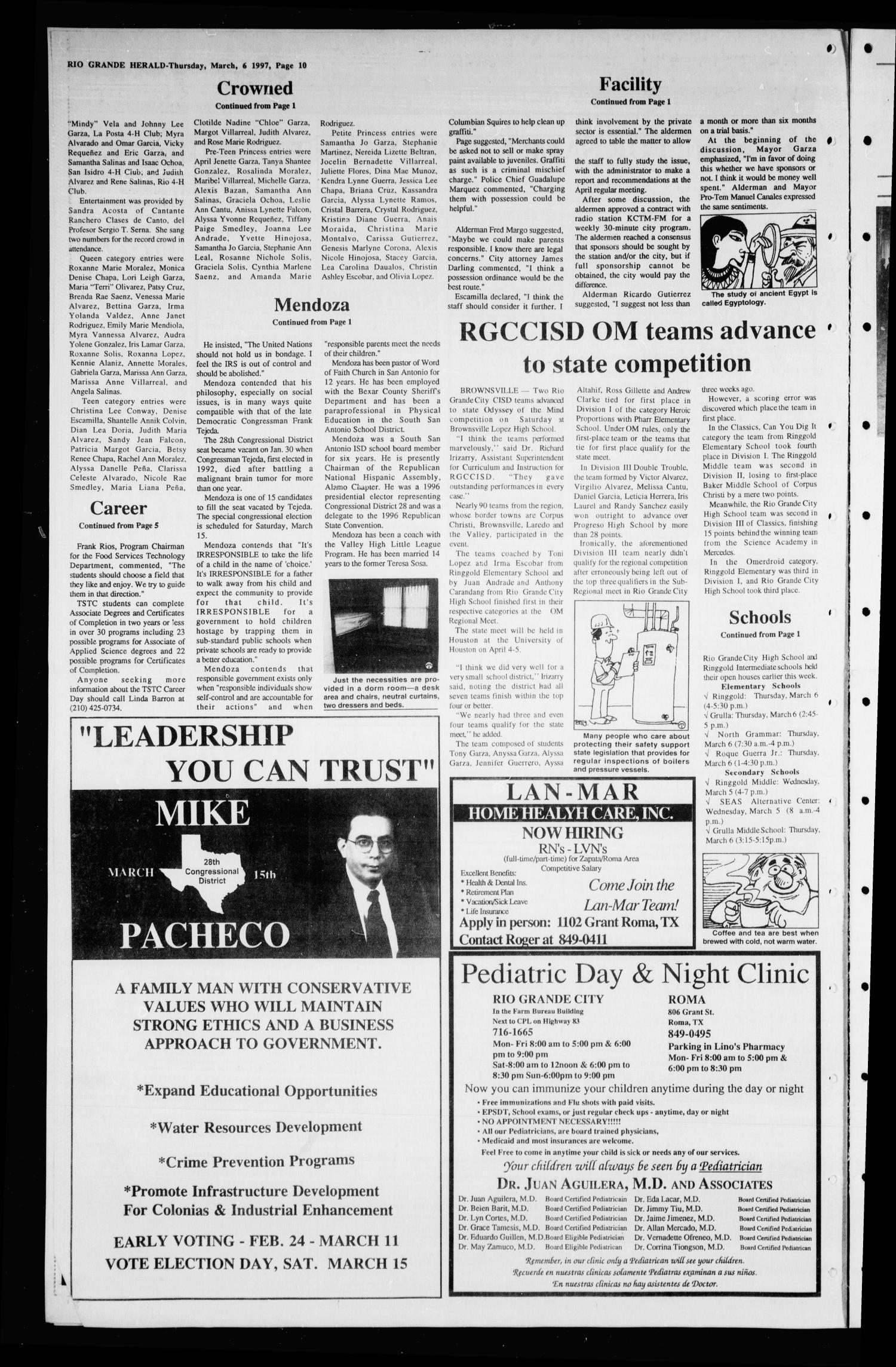 Rio Grande Herald (Rio Grande City, Tex.), Vol. 84, No. 10, Ed. 1 Thursday, March 6, 1997                                                                                                      [Sequence #]: 10 of 10