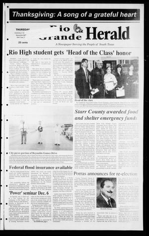 Primary view of object titled 'Rio Grande Herald (Rio Grande City, Tex.), Vol. 84, No. 48, Ed. 1 Thursday, November 27, 1997'.