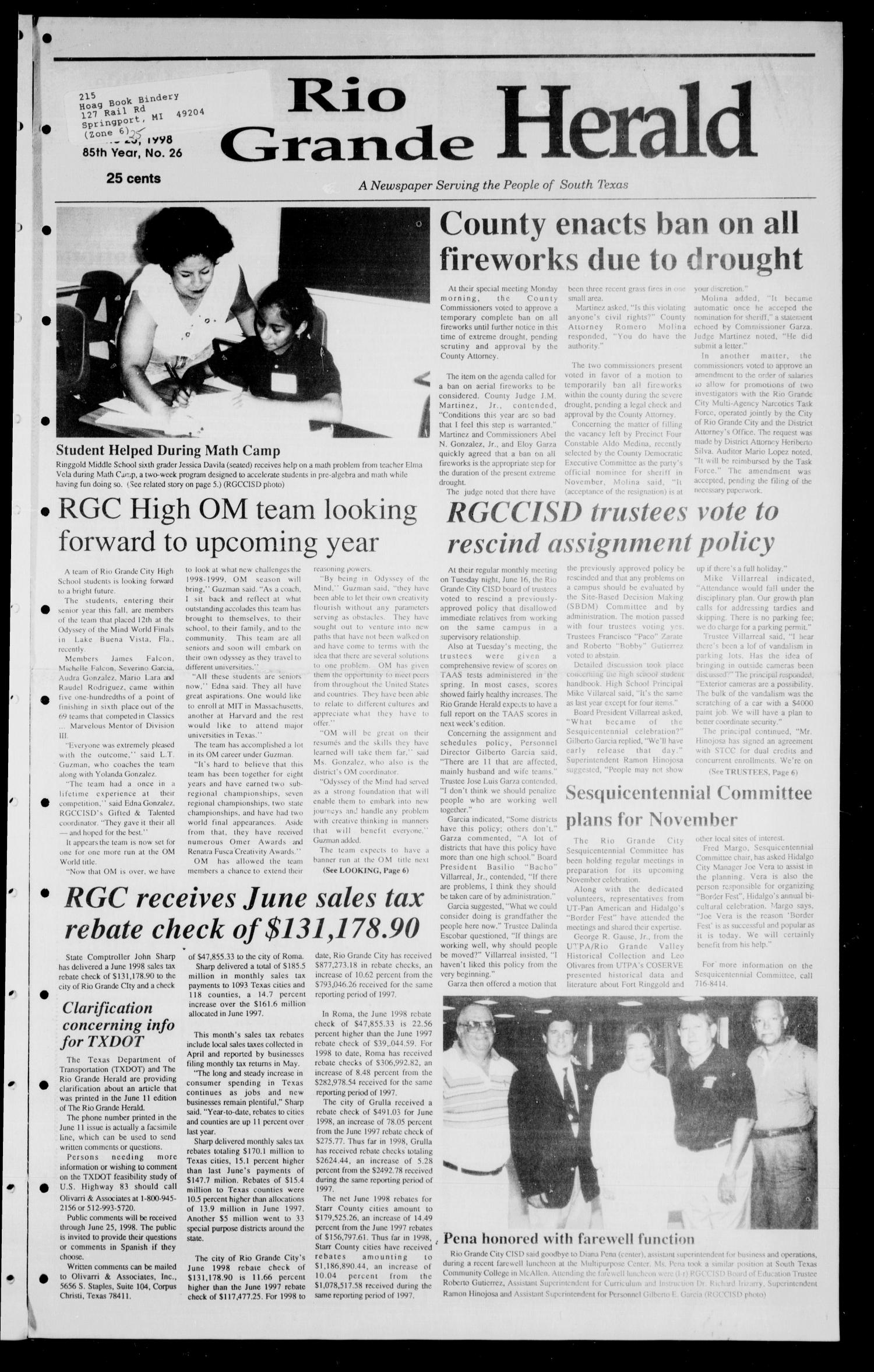 Rio Grande Herald (Rio Grande City, Tex.), Vol. 85, No. 26, Ed. 1 Thursday, June 25, 1998                                                                                                      [Sequence #]: 1 of 8