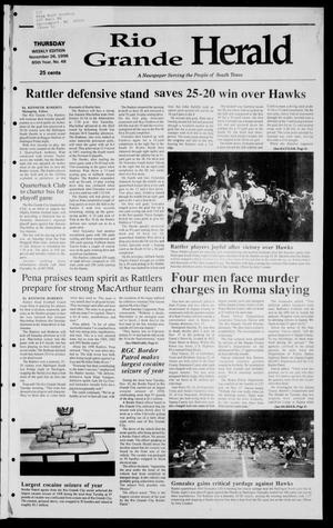 Primary view of object titled 'Rio Grande Herald (Rio Grande City, Tex.), Vol. 85, No. 48, Ed. 1 Thursday, November 26, 1998'.