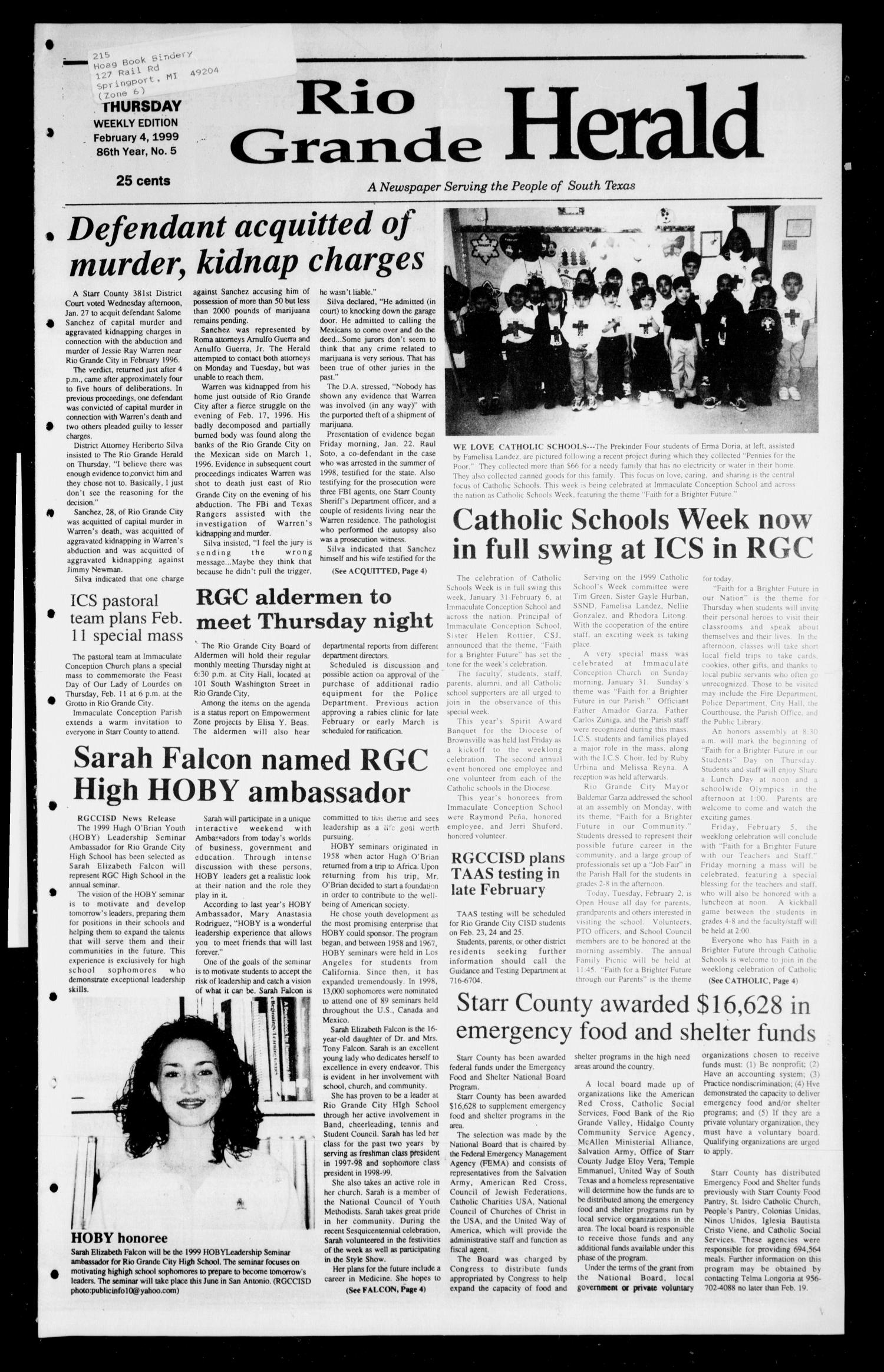 Rio Grande Herald (Rio Grande City, Tex.), Vol. 86, No. 5, Ed. 1 Thursday, February 4, 1999                                                                                                      [Sequence #]: 1 of 8