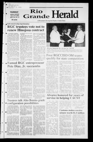 Primary view of object titled 'Rio Grande Herald (Rio Grande City, Tex.), Vol. 86, No. 12, Ed. 1 Thursday, March 25, 1999'.