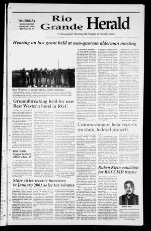 Primary view of object titled 'Rio Grande Herald (Rio Grande City, Tex.), Vol. 88, No. 3, Ed. 1 Thursday, January 18, 2001'.